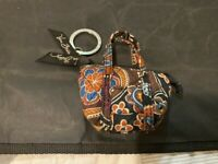 VERA BRADLEY LIMITED MINI MILLER BAG KEYCHAIN KENSINGTON KEY CHAIN BROWN FLORAL