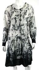 MARNI Black & White Watermark Print Cotton Button Front Tunic Dress 44