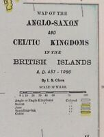 "Vintage 1900 ANGLO-SAXON & CELTIC KINGDOMS Map 11""x14"" ~ Old Antique Original"
