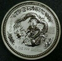 $1 Australia 1 Oz Lunar Year of the Dragon 999 Fine Silver Low Mintage Rare Coin