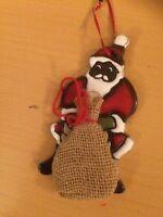 Weihnachtsmann Jutebeutel Hänge-Deko Keramik Emaille Weihnachtsgeschenk W0009
