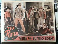 "Where The Buffalo Roam 1938 Monogram 11x14"" western lobby card Tex Ritter"