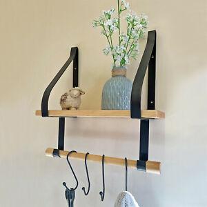 Metal Solid Wall Shelf Rack Towel Hook Hangers Rail Bathroom accessories Storage