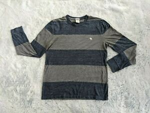 Abercrombie & Fitch Size SMALL Men's Tee Gray Striped Muscle Long Sleeve T-Shirt