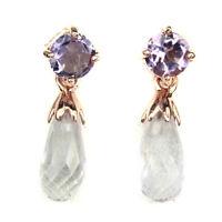 Unheated Briolette Purple Amethyst Rose Gole Plate 925 Sterling Silver Earrings