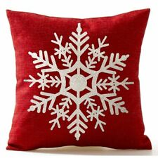 Beautiful Snowflake In Red Merry Christmas Gifts flax Throw Pillow Case Cus G1T3