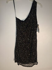 NWT $428 French Connection 'Starstruck' One Shoulder Beaded Dress Size 8