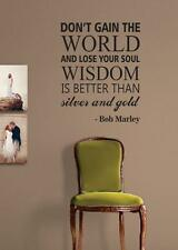 Bob Marley Gain World v2 Wall Decal Quote Sticker Wall Vinyl Art Music Lyrics