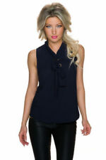 Maglie e camicie da donna senza maniche blu sintetico