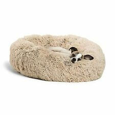 """The Original Calming Donut Cat and Dog Bed Small 23"""" x 23"""" Shag Taupe Bed Only"""