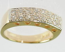 Ladies 14K Yellow Gold 1/3 Ct Tw Diamond Pave Right Hand Band Estate Ring 144047