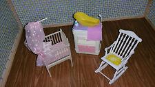 Barbie Baby Nursery Furniture Room Crib Rocking Chair Dresser ChangingTable Bath