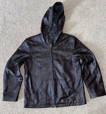 Great Northwest Clothing Co Mens Brown Leather Hooded Jacket Size Large