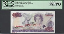 New Zealand 2 Dollars ND(1985-89) P170bs Specimen TDLR About Uncirculated