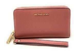 Michael Kors Jet Set Travel Large Flat Zip MF Phone Case Wristlet Wallet