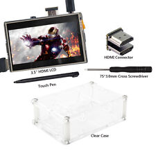 "3.5"" HDMI LCD Display Screen for Raspberry Pi2 3 Model B+ Clear Case"