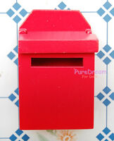 Red Wooden Mailbox For Dollhouse Miniature Furniture OA021G New Arrived