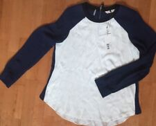 REBECCA TAYLOR Navy, Black & Cream Women's Color Block Blouse Top Size 10