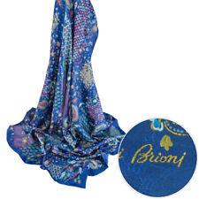BRIONI Square Oriental Blue Handmade Silk Shawl Wrap Scarf Headscarf