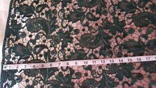 "Black Guipure Venice Embroidered Floral Lace Fabric BTY 40"" wide"