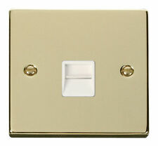 Polished Brass 1-Gang Phone Socket Home Electrical Fittings