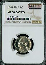 1966 JEFFERSON NICKEL NGC MAC MS68 SMS PQ CAMEO FINEST REGISTRY SPOTLESS POP-14