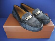 NIB Coach Olive Loafer Signature Embossed Canvas Flat SZ 6.5 M Black-Smoke/Black