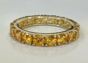 10CT Solid gold & Citrine full eternity band ring 3.58g size P 1/2 -  7 3/4