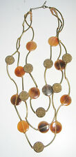 Vintage Hand Carved Horn Necklace goldtone beads multi strand