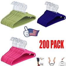 LOT 200 PCS Flocked Non-Slip kids Velvet Hangers Clothes Shirt Hanger ZN