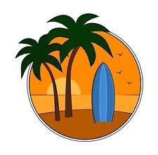 Autocollant Surf Surf Surfeur palmiers Autocollant Decal étiquette en vinyle graphique