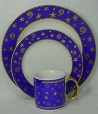 POTTERY BARN china STARS & SWIRLS PBA1 3-pc DINNER PLATE, Salad, and MUG Set