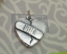 Sterling Silver 16x16mm Bandaid on a Broken Heart Charm!