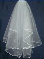 NEW White 2 Layers Beading Wedding Veil Bridal Veil With Comb
