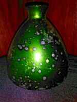 Rare & Vintage Vidrios San Miguel, Green Oil Spot, Recycled Glass, Bulb Vase, 19
