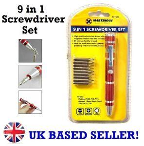 9in1 Precision Screwdriver Bit Set Phillip Flat Torx Jewellery Laptops Phones T5