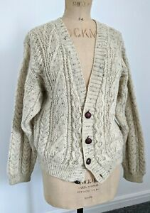 VINTAGE 100% PURE WOOL ARAN CABLE KNIT SLOUCHY CARDIGAN SIZE M/L