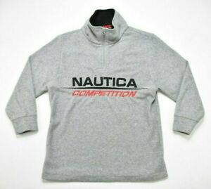 Vintage Gray Nautica Competition 1/4 Zip Pull Over Turtle Neck Sweater Youth XL