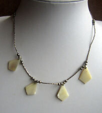 Vintage LIQUID SILVER & TRIANGULAR MOTHER OF PEARL NECKLACE Southwestern Tribal