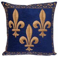 jacquard woven belgian gobelin tapestry cushion pillow cover Fleur de Lis royal