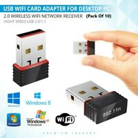 10 x USB 2.0 WIRELESS WiFi NETWORK RECEIVER ADAPTER 150 Mbps Dongle DESKTOP PC