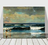 WINSLOW HOMER - On The Beach - CANVAS ART PRINT POSTER - Ocean Landscape 32x24""
