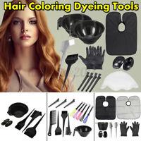 Hair Coloring Dyeing Kit Salon Color Dye Brush Comb Mixing Bowl Tint Tool Bleach