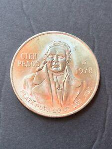 UNCIRCULATED 1978 Mexico Cien 100 Pesos 0.720 Silver Coin 0.6428 ASW FREE SHIP