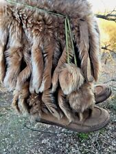 Minnetonka Moccasins INDIAN POW WOW Boots Rabbit Fur Fox Tails Womens Shoes Sz 7