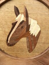 Beautifully Made Horses Head Inlaid Wooden Marquetry Plate - Equestrian Riding