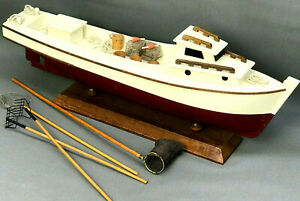 "18"" Vtg Handmade Model MAINE LOBSTER / CLAMMING BOAT - Folk Art - Wood - AMAZING"