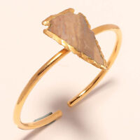 GOLD PLATED HANDMADE  ADJUSTABLE BANGLE JEWELRY WITH FANCY AGATE GEMSTONE