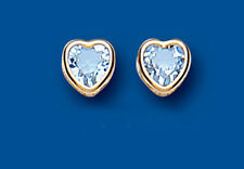 Unique Wishlist 9ct Yellow Gold Blue Topaz Rim Set Heart Studs AP6826