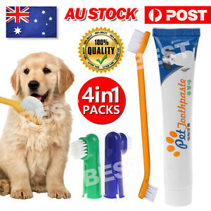 Pet Dog Cat Cleaning Toothpaste+Toothbrush+Back Up Brush Set Vanilla Flavour NEW